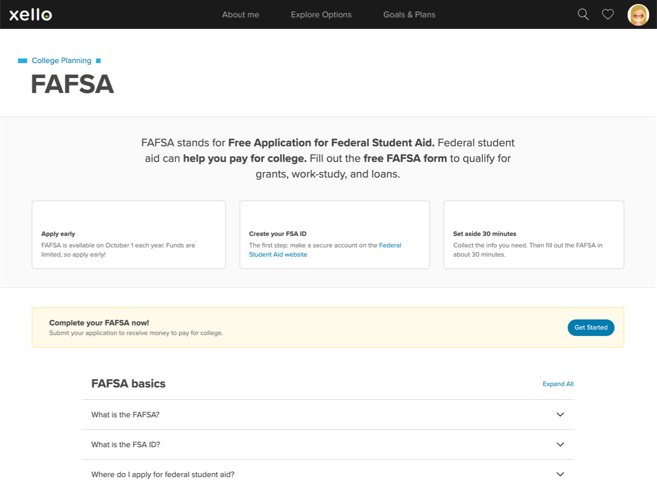 FAFSA topic page