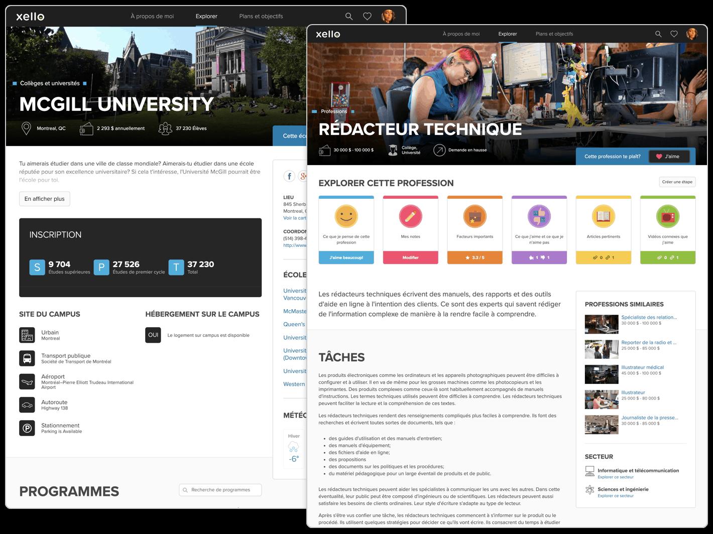 Des écrans de profils de collège et de carrière riches et dynamiques