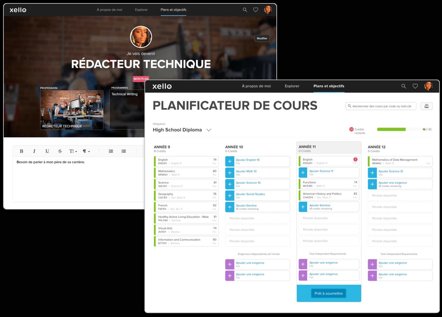 Planificateur de cours intégré et constructeur de plan interactif