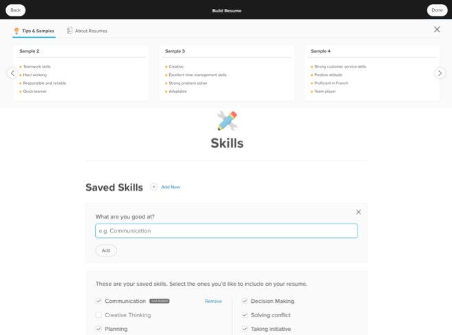 An example of a student selecting saved skills to add to their resume