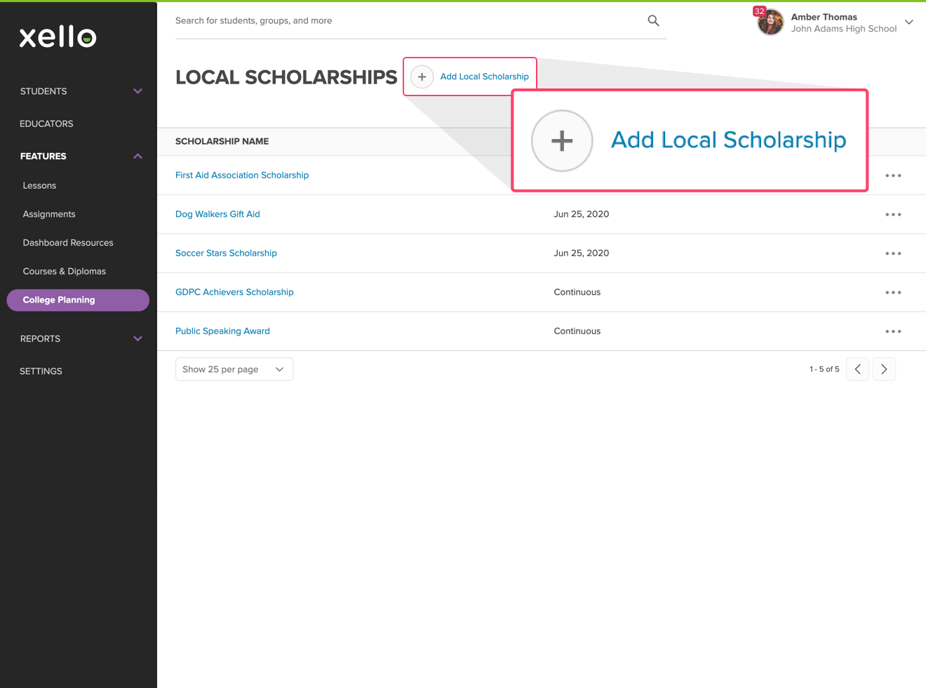 Add local scholarships