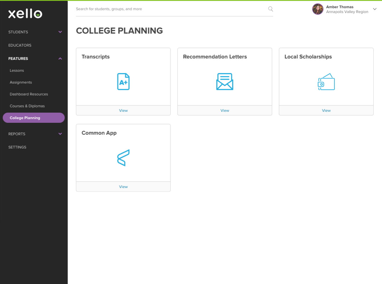 College Planning section in Educator Tools