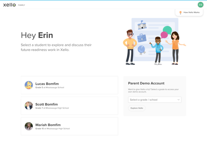 An example of the Family Portal Homepage